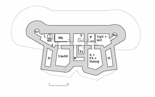 Plán horního patra objektu StM-S 32