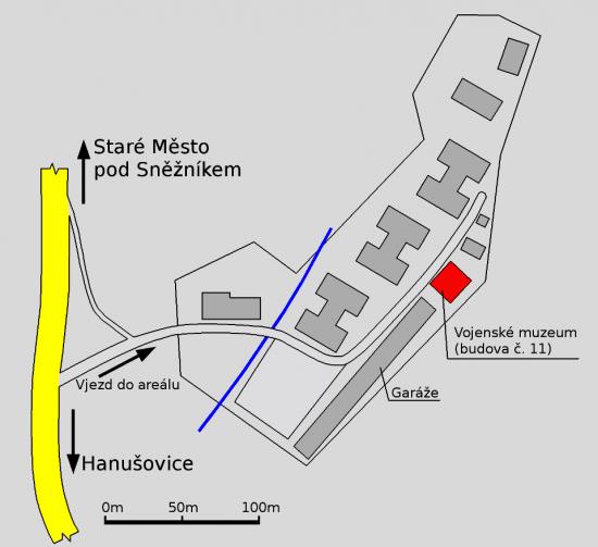 Plán areálu bývalých kasáren ve Starém Městě