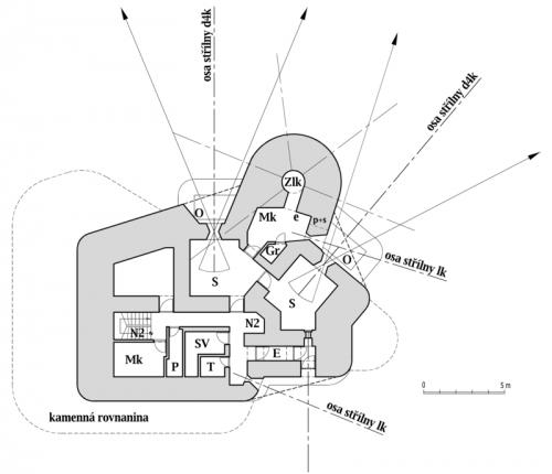 Plán horního patra objektu StM-S 30